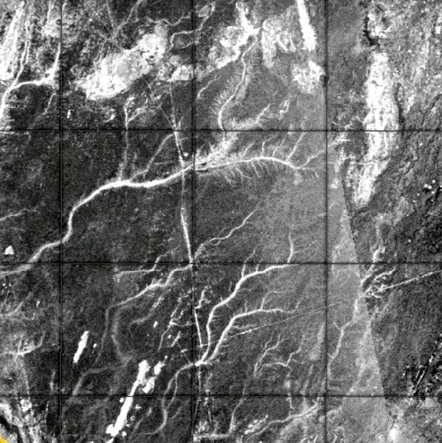 Imagen de radar de ríos en el Sahara