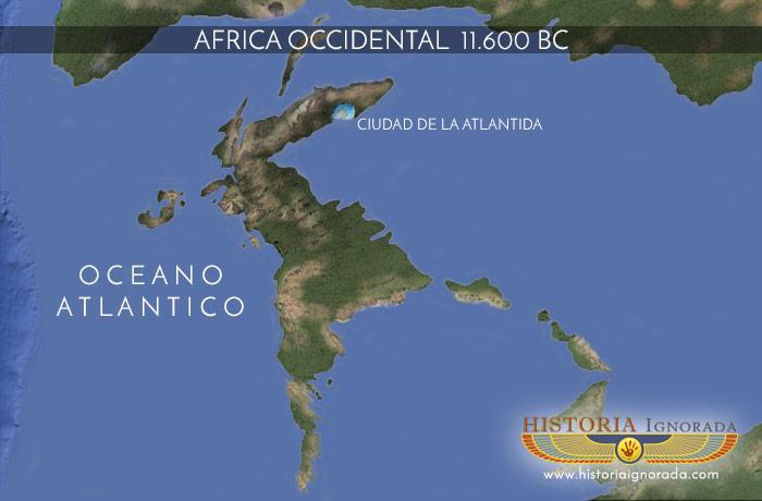 mapa de Africa 11200 bc con Atlantida