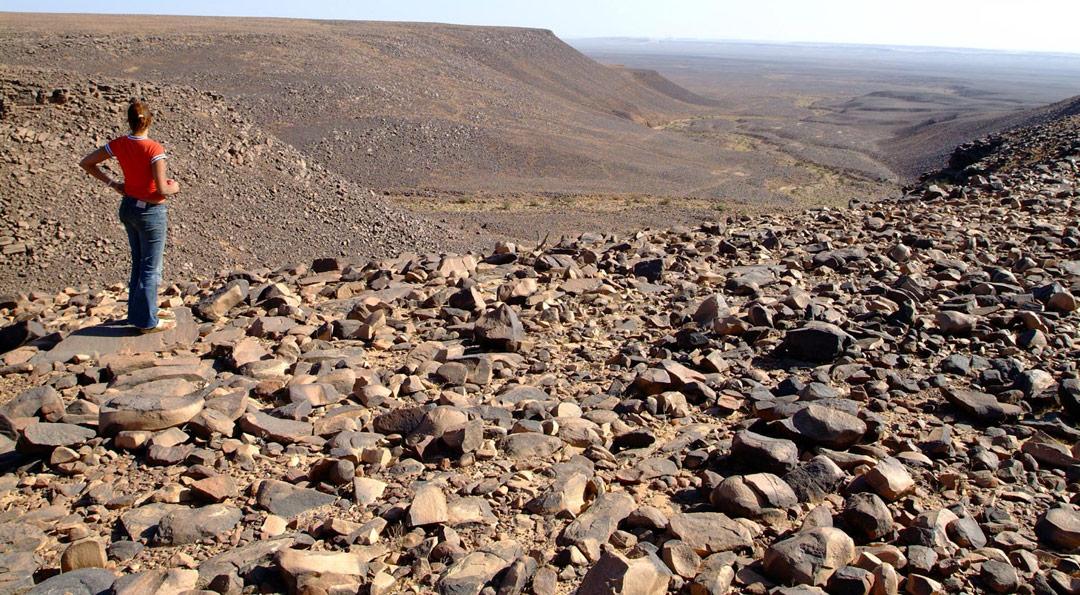 Montañas de escombros en la estructura de Richat