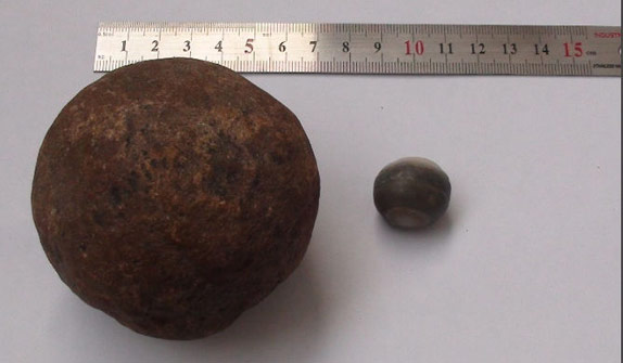 Miles de bolas de piedra halladas en la estructura